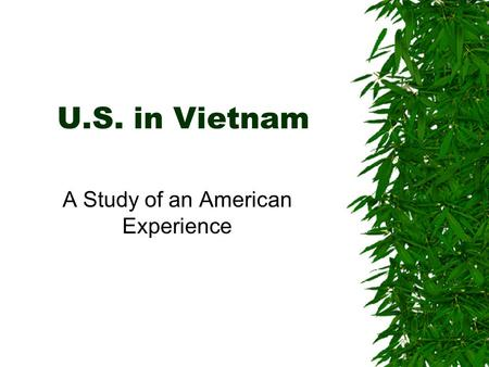 U.S. in Vietnam A Study of an American Experience.