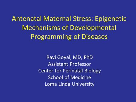 Antenatal Maternal Stress: Epigenetic Mechanisms of Developmental Programming of Diseases Ravi Goyal, MD, PhD Assistant Professor Center for Perinatal.