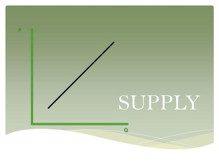 SUPPLY.  Explain that market supply is based on each seller's cost and the number of sellers in the market; analyze the effect of factors that can change.