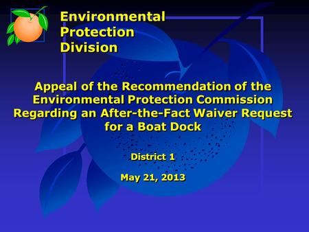 Appeal of the Recommendation of the Environmental Protection Commission Regarding an After-the-Fact Waiver Request for a Boat Dock District 1 May 21, 2013.
