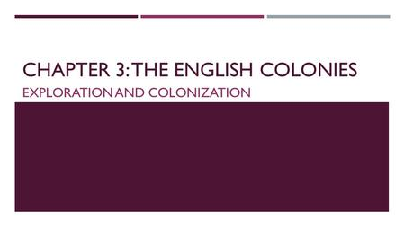 CHAPTER 3: THE ENGLISH COLONIES EXPLORATION AND COLONIZATION.