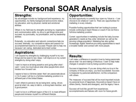 Personal SOAR Analysis Strengths: My advantages include my background and experience, my opportunities, my family background and economic status, my education,