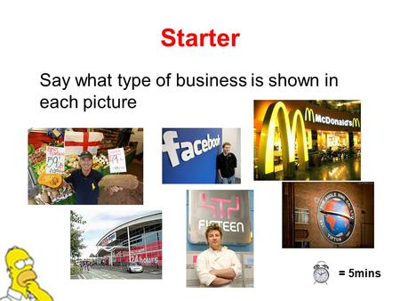 Starter Say what type of business is shown in each picture = 5mins.