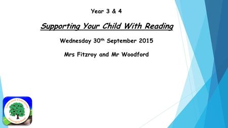 Year 3 & 4 Supporting Your Child With Reading Wednesday 30 th September 2015 Mrs Fitzroy and Mr Woodford.