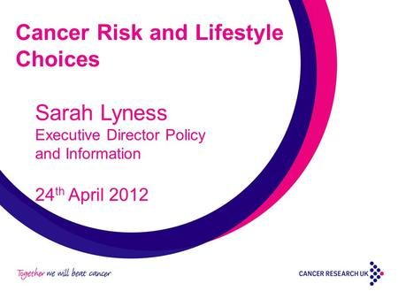 Cancer Risk and Lifestyle Choices Sarah Lyness Executive Director Policy and Information 24 th April 2012.