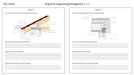 English for Engineering Management ( 1 ) Detail 1-1 Fill out the missing words on the drawing (5 are missing) Where is the detail located on the building?