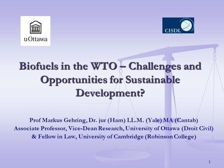 1 Biofuels in the WTO – Challenges and Opportunities for Sustainable Development? Prof Markus Gehring, Dr. jur (Ham) LL.M. (Yale) MA (Cantab) Associate.