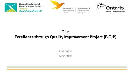 The Excellence through Quality Improvement Project (E-QIP) Overview May 2016.