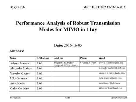 Doc.: IEEE /0632r1 Submission May 2016 Intel CorporationSlide 1 Performance Analysis of Robust Transmission Modes for MIMO in 11ay Date: