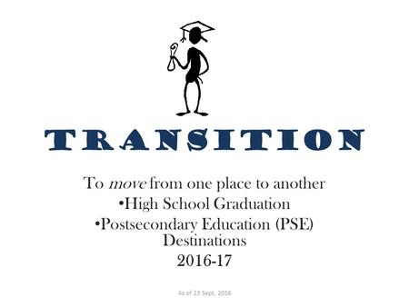TRANSITION To move from one place to another High School Graduation Postsecondary Education (PSE) Destinations As of 23 Sept