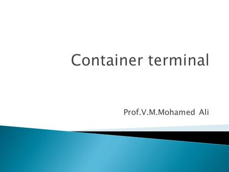 Prof.V.M.Mohamed Ali.  Is a facility where cargo containers are transhipped.  The transshipment may be between container ships and land vehicles. 