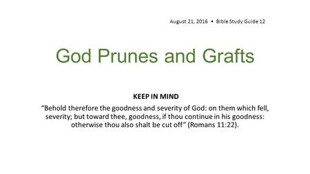 "God Prunes and Grafts KEEP IN MIND ""Behold therefore the goodness and severity of God: on them which fell, severity; but toward thee, goodness, if thou."