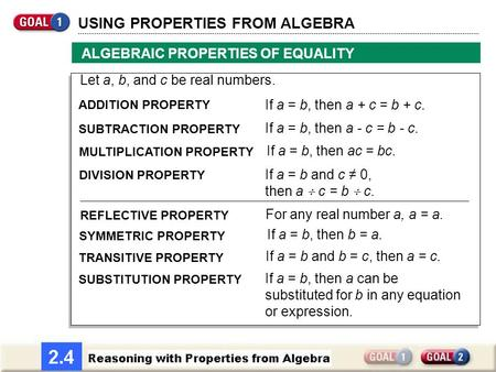 USING PROPERTIES FROM ALGEBRA ALGEBRAIC PROPERTIES OF EQUALITY Let a, b, and c be real numbers. SUBTRACTION PROPERTY ADDITION PROPERTY If a = b, then a.