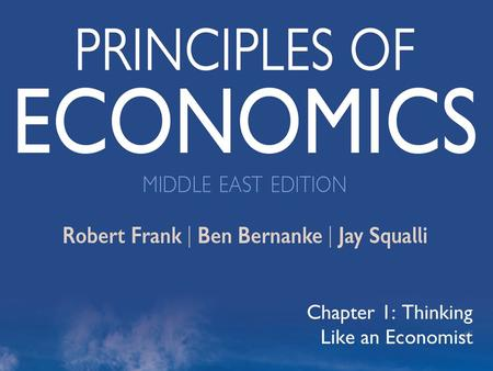©2012 The McGraw-Hill Companies, All Rights Reserved 1 Chapter 1: Thinking Like an Economist.