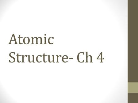 Atomic Structure- Ch 4. Daltons Atomic Theory 1. All elements are composed of tiny indivisible particles called atoms. 2. Atoms of the same element are.