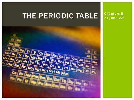 Chapters 8, 21, and 22 THE PERIODIC TABLE.  4.7 Explain the history and development of the periodic table.  4.8 Utilize periodic tends to predict the.