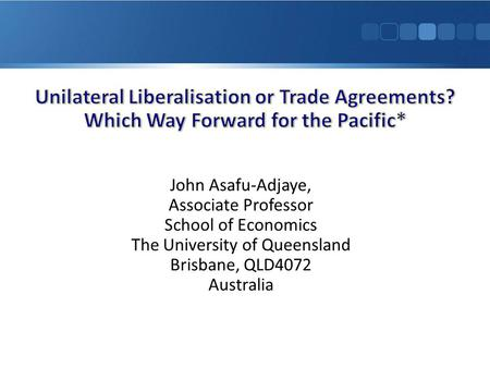 John Asafu-Adjaye, Associate Professor School of Economics The University of Queensland Brisbane, QLD4072 Australia.