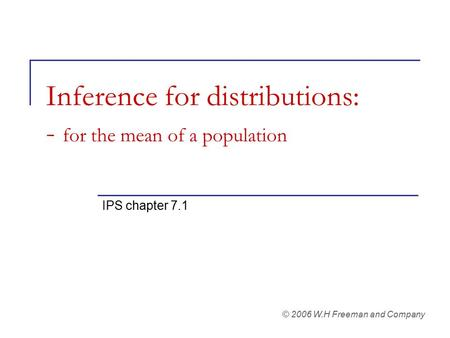 Inference for distributions: - for the mean of a population IPS chapter 7.1 © 2006 W.H Freeman and Company.