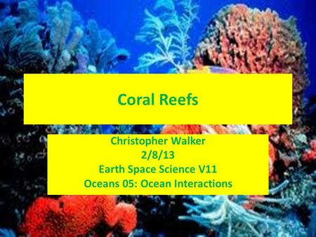 Coral Reefs Christopher Walker 2/8/13 Earth Space Science V11 Oceans 05: Ocean Interactions.