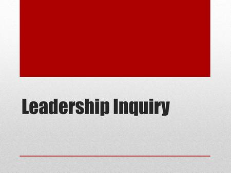 Leadership Inquiry. What the research says TEACHER PROFESSIONAL LEARNING AND DEVELOPMENT: BEST EVIDENCE SYNTHESIS ITERATION (2007) THIS BEST EVIDENCE.