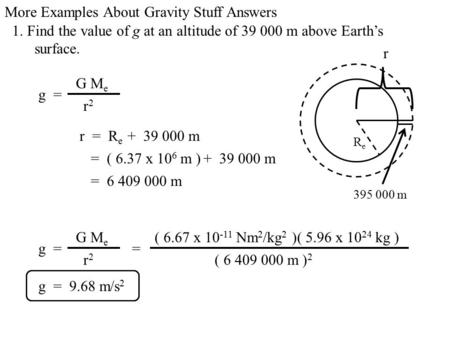 More Examples About Gravity Stuff Answers 1. Find the value of g at an altitude of m above Earth's surface. ReRe r g = G M e r2r m r =