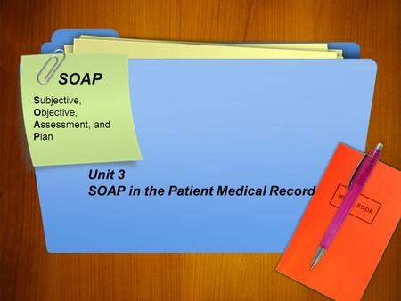 SOAP Subjective, Objective, Assessment, and Plan Unit 3 SOAP in the Patient Medical Record.