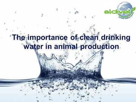 The importance of clean drinking water in animal production.