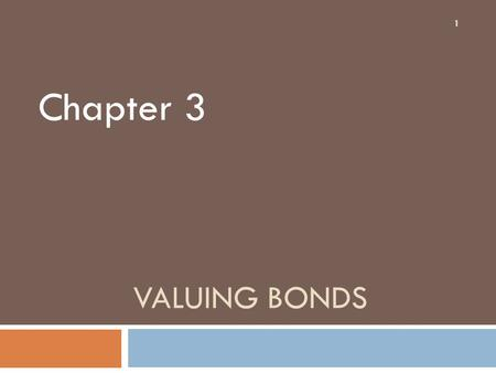 VALUING BONDS Chapter 3 1. Topics Covered 2  Using The Present Value Formula to Value Bonds  How Bond Prices Vary With Interest Rates  The Term Structure.