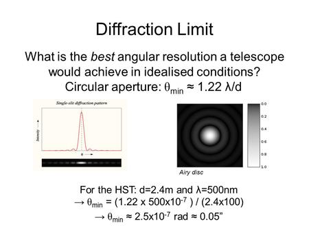 Diffraction Limit What is the best angular resolution a telescope would achieve in idealised conditions? Circular aperture: θ min ≈ 1.22 λ/d For the HST: