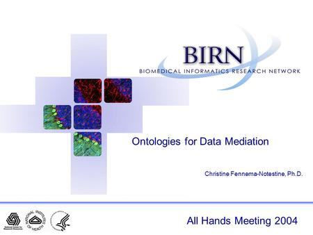 All Hands Meeting 2004 Ontologies for Data Mediation Christine Fennema-Notestine, Ph.D.