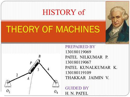 1 THEORY OF MACHINES PREPAIRED BY PATEL NILKUMAR P PATEL KUNALKUMAR K THAKKAR JAIMIN V. GUIDED BY H. N. PATEL.