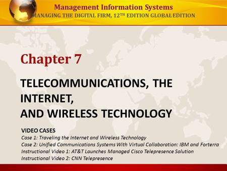 Management Information Systems MANAGING THE DIGITAL FIRM, 12 TH EDITION GLOBAL EDITION TELECOMMUNICATIONS, THE INTERNET, AND <strong>WIRELESS</strong> <strong>TECHNOLOGY</strong> Chapter.