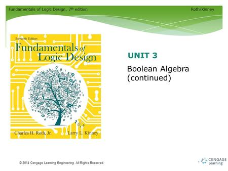 Fundamentals of Logic Design, 7 th editionRoth/Kinney © 2014 Cengage Learning Engineering. All Rights Reserved. 1 Boolean Algebra (continued) UNIT 3.