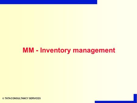  TATA CONSULTANCY SERVICES MM - Inventory management.