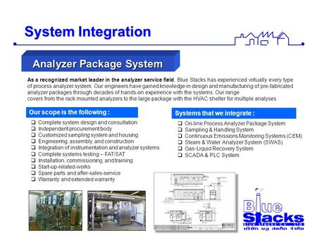 System Integration As a recognized market leader in the analyzer service field, Blue Stacks has experienced virtually every type of process analyzer system.