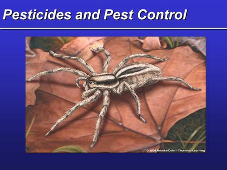 Pesticides and Pest Control. Key Concepts  Types and characteristics of pesticides  Pros and cons of using pesticides  Pesticide regulation in the.