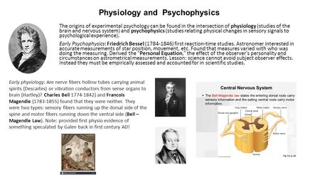 Physiology and Psychophysics The origins of experimental psychology can be found in the intersection of physiology (studies of the brain and nervous system)