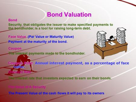Bond Valuation Coupon Rate Annual interest payment, as a percentage of face value. Bond Security, that obligates the issuer to make specified payments.
