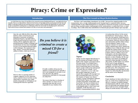 Piracy: Crime or Expression? As of 2012 there have been 15 Anti-Piracy laws enacted to protect Intellectual Property copyright in the form of media. There.
