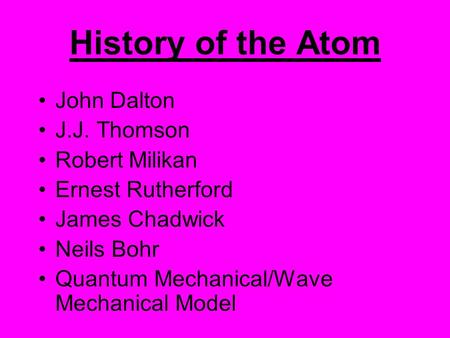History of the Atom John Dalton J.J. Thomson Robert Milikan Ernest Rutherford James Chadwick Neils Bohr Quantum Mechanical/Wave Mechanical Model.