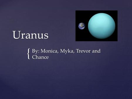 { Uranus By: Monica, Myka, Trevor and Chance. Moons Of Uranus There are many moon of Uranus, which are Titania, Miranda, Oberon, Ariel, Umbriel, Punk,