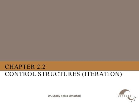CHAPTER 2.2 CONTROL STRUCTURES (ITERATION) Dr. Shady Yehia Elmashad.