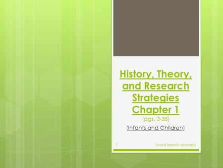 History, Theory, and Research Strategies Chapter 1 (pgs. 3-35) (Infants and Children) (word search answers)1.