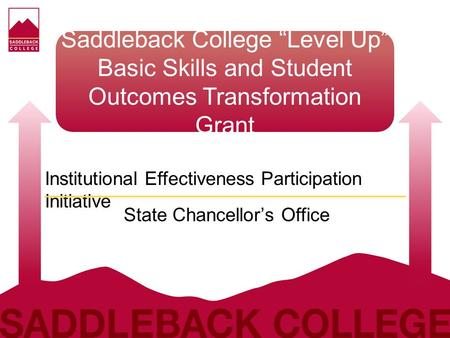 "Saddleback College ""Level Up"" Basic Skills and Student Outcomes Transformation Grant Institutional Effectiveness Participation Initiative State Chancellor's."