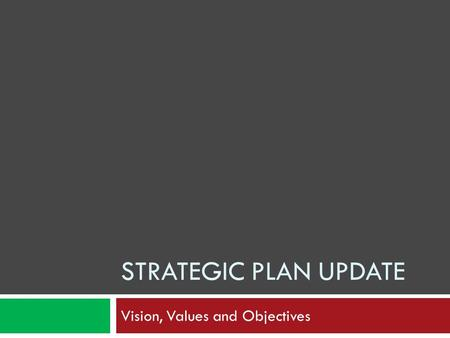 STRATEGIC PLAN UPDATE Vision, Values and Objectives.