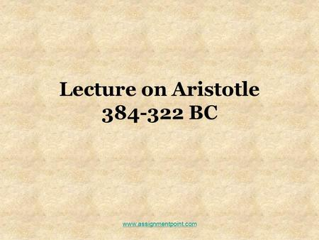 Lecture on Aristotle BC