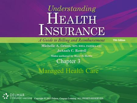 Copyright © 2013 Delmar, Cengage Learning. ALL RIGHTS RESERVED. Managed Health Care Chapter 3.