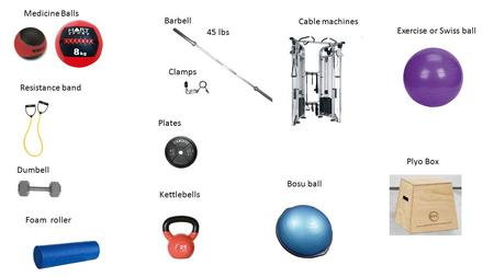 Medicine Balls Plates Barbell Dumbell Cable machines Resistance band Kettlebells Clamps Bosu ball Exercise or Swiss ball Foam roller 45 lbs Plyo Box.