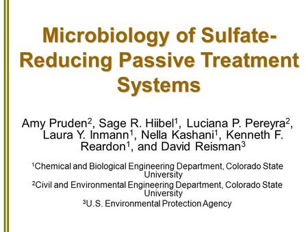 Microbiology of Sulfate- Reducing Passive Treatment Systems Amy Pruden 2, Sage R. Hiibel 1, Luciana P. Pereyra 2, Laura Y. Inmann 1, Nella Kashani 1, Kenneth.