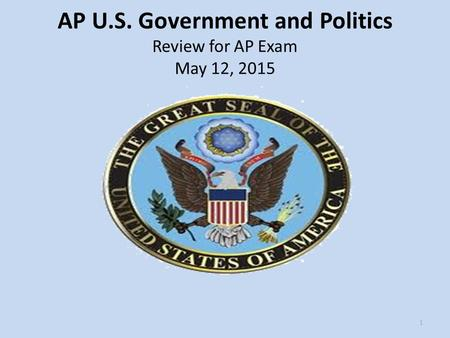 AP U.S. Government and Politics Review for AP Exam May 12,